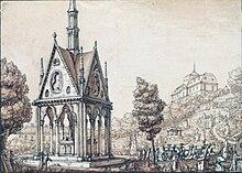 Das Grabmal von Heloise und Abaelard, Zeichnung aus dem 19. Jahrhundert (Quelle: Wikimedia)