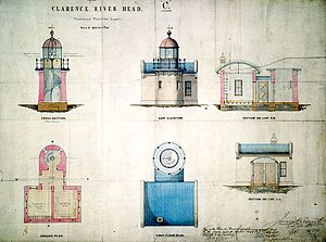 Clarence River Light - Plans for the lighthouse, as drawn in 1878 by James Barnet
