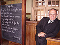 Class room with teacher in the Beamish Museum 01.JPG