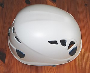 Helmet - A protective helmet worn during rock climbing