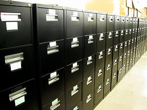 New York Public Library for the Performing Arts - Behind the scenes: A small portion of the hundreds of file cabinets containing over a million clippings at LPA
