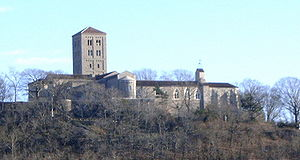 The Cloisters as seen from the Hudson River.