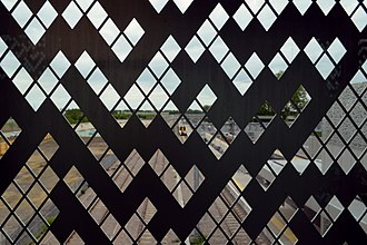 Cambridge North railway station - Detail of cladding viewed from overbridge