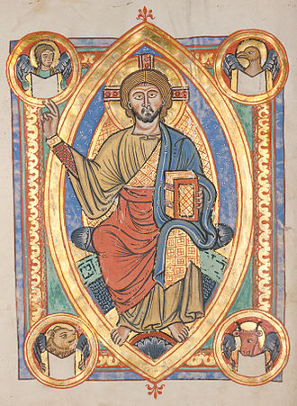 The World (Tarot card) - Christ in Majesty is surrounded by the animal emblems representing the four evangelists in a German manuscript.