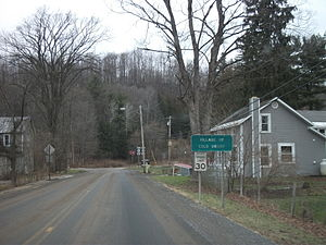 Cold Brook, New York - Signage entering Cold Brook via Herkimer County Route 224, approaching New York State Route 8.