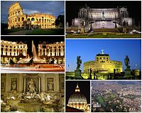 Views o Roum, frae tap left clockwise: the Colosseum, the Monument tae Vittorio Emanuele II, the Castel Sant'Angelo, an aerial view o the ceety's historic centre, the dome o St. Peter's Basilica, the Trevi Foontain, the Piazza della Repubblica.