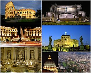 A view of Rome: the top left picture to the is the Colosseum, followed (left to right) by the Monument to Vittorio Emanuele II, the Piazza della Repubblica, the Castel Sant' Angelo, the Trevi Fountain, the dome of St. Peter's Basilica and finally an aerial view of the city's historic centre.