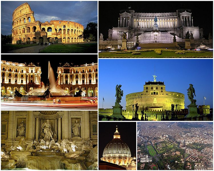 A view of Rome: the top left picture to the is the Colosseum, followed (left to right) by the Monument to Vittorio Emanuele II, the Piazza della Repubblica, the Castel Sant' Angelo, the Trevi Fountain, the dome of St. Peter's Basilica and finally an aerial view of the city's historic centre. (http://upload.wikimedia.org/wikipedia/commons/thumb/7/75/Collage_Rome.jpg/750px-Collage_Rome.jpg)