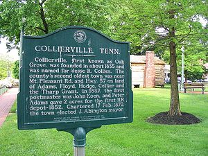 Collierville, Tennessee - Sign in the Historic Town Square