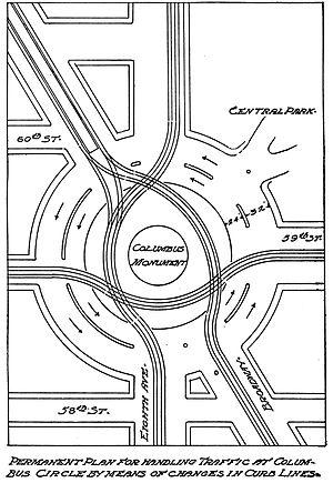 William Phelps Eno - Columbus Circle rotary plan in Eno's Street Traffic Regulation, 1909