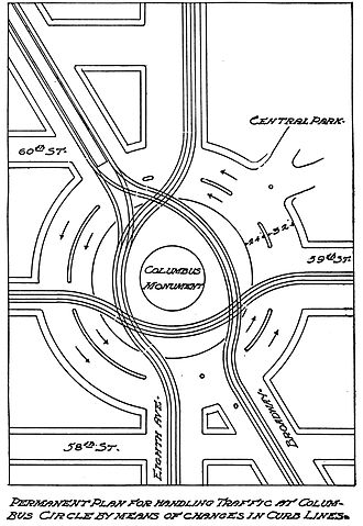 William Phelps Eno - Columbus Circle rotary plan in Eno's Street Traffic Regulation, 1909
