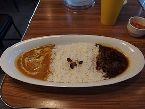 Combination meal - A combination meal with chicken curry, rice and beef curry