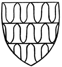 Fig. 38.—Arms of Robert de Ferrers, Earl of Derby (1254-1265). (From stained glass in Dorchester Church.)