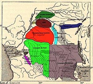 John Thomas North - Congo Free State concession companies, ABIR shown in dark red