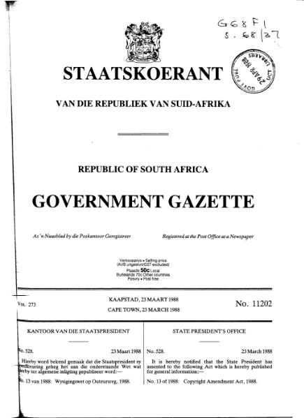 File:Copyright Amendment Act 1988 from Government Gazette.djvu