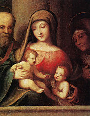 Holy family with Saints John the Baptist and Elizabeth