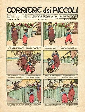 Corriere dei Piccoli - The cover of the 11 July 1911 edition carries a cartoon strip in the Italian style without speech bubbles.
