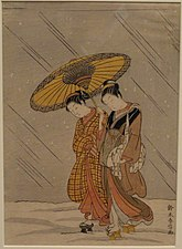 Couple in a Snowstorm, Suzuki Harunobu, c. 1768 - Hood Museum of Art - DSC09257.JPG