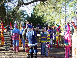 Capuchon - Mardi Gras celebrants wearing capuchons