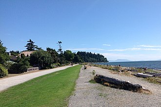 Crescent Beach, Surrey - South-facing view of beach and walkway in Crescent Beach in Surrey, British Columbia