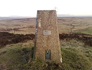 Retriangulation of Great Britain - The triangulation station at Crompton Moor is one of the concrete pillars erected by the Ordnance Survey during the retriangulation of Great Britain. It is possible (in clear weather) to see at least two other trig points from any one trig point.