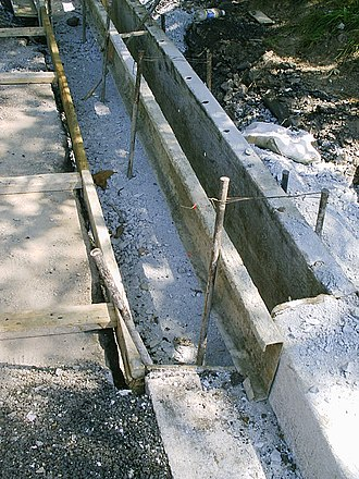 Curb - Metal forms before the concrete is poured and finished by hand