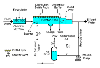 Dissolved air flotation - A typical dissolved air flotation unit (DAF)