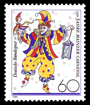 Mainz carnival - Stamp commemorating 150 years of Mainzer Carneval: The Bajass with his lantern.
