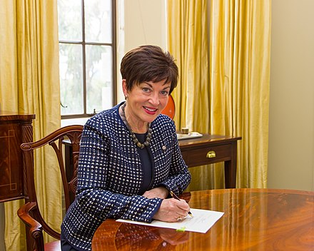 Governor-General Dame Patsy Reddy giving Royal Assent to a bill for the first time. Government House, Wellington, 28 September 2016 Dame Patsy Reddy gave her first Royal assent. This is the final step a bill needs to go through before it becomes law.jpg