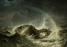 A ship with a shattered mast is sinking in darkness beneath crashing waves near an indistinct rocky shore. A pale rainbow appears in the spray around the ship.