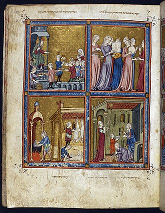 Haggadah - Page from the Golden Haggadah, probably Barcelona, c. 1320. Upper right: the Dance of Miriam (Ex. 15:20), upper left: the master of the house distributing the matzot (unleavened bread) and the haroset (sweetmeat), lower right: cleaning of the house, lower left: slaughtering the Passover lamb and cleansing dishes (hagalat kelim)