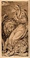 Daniel praying in the lion's den. Lithograph. Wellcome V0034351.jpg