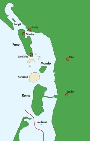 Danish Wadden Sea Islands - Image: Danske Vadehavsøer
