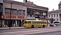 Dayton in 1968 - ex-Kansas City trolley bus on Main at 3rd.jpg