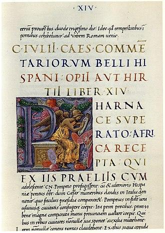 De Bello Hispaniensi - A manuscript of De bello Hispaniensi: Rome, Biblioteca Casanatense, 453, fol. 199r (late 15th century)