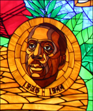 Howard Thurman - Detail from a stained glass window featuring Howard Thurman at Howard University's Andrew Rankin Memorial Chapel