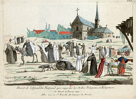 In this caricature, monks and nuns enjoy their new freedom after the decree of 16 February 1790. Decret de l'Assemblee National qui supprime les Ordres Religieux et Religieuses.jpg