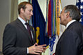 Defense.gov News Photo 110930-D-BW835-006 - Canadian Minister of Defense Peter MacKay left speaks with Secretary of Defense Leon Panetta before sitting down to a meeting in the Pentagon in.jpg