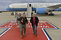 Defense Secretary Chuck Hagel walks with Air Force Gen. Mike Hostage, commander of the Air Combat Command, as he arrives on Langley Air Force Base in Hampton, Va 140225-D-NI589-399.jpg