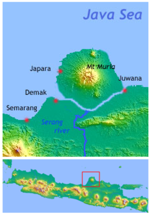 Demak Sultanate - Demak and nearby ports. With approximate coastline when Muria and Java still separated.