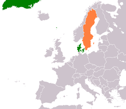 Map indicating locations of Denmark and Sweden