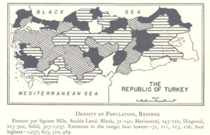 One-party period of the Republic of Turkey - Image: Density of Population excluding unliviable areas 1927