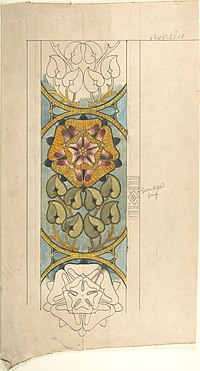 Design for Ecclesiastical Embroidery, Vertical Pattern with Tudor Rose MET DP805735