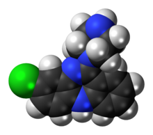 Space-filling model of the desmethylclozapine molecule