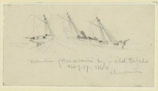Destruction of Housatonic by a rebel torpedo. Feb. of 17 1864. Charleston