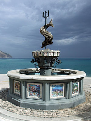 Trident - Fountain of Neptune in Diafáni, Karpathos island