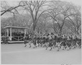 Distance view of President Truman in the reviewing stand watching the Womens Army Corps march by in the Army Day... - NARA - 199773.tif