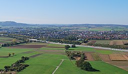 View of Ditzingen from the hill Grüner Heiner. Baden Württemberg in Germany.