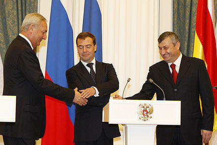 Sergey Bagapsh (left), Dmitry Medvedev (middle) and Eduard Kokoity (right) shortly after the recognition of Abkhazia and South Ossetia Dmitry Medvedev 17 September 2008-1.jpg