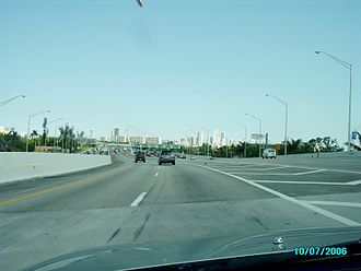 Florida State Road 836 - Dolphin Expressway (SR 836) eastbound with downtown Miami in the distance